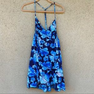 Maaji floral swim cover up dress blue size medium